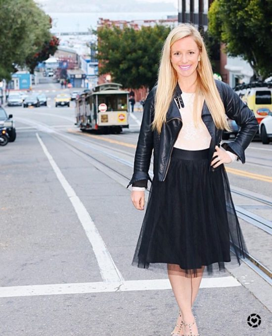 Black Leather Jacket and Tulle Skirt