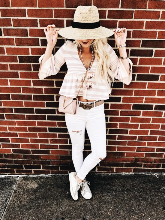 White Skinny Jeans and Straw Hat