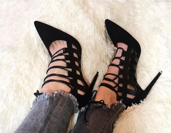 Sexy Black Lace-Up Heels
