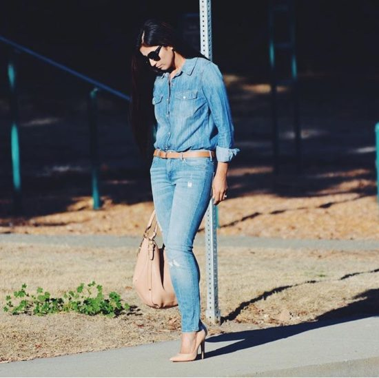 Denim Shirt and Jeans Outfit