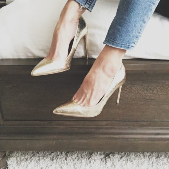 Zara Gold Pointed Toe Heels