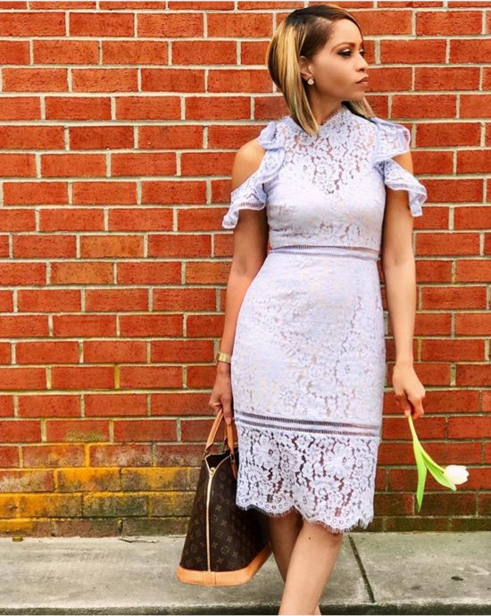 Lavender Lace Cold Shoulder Sheath Dress