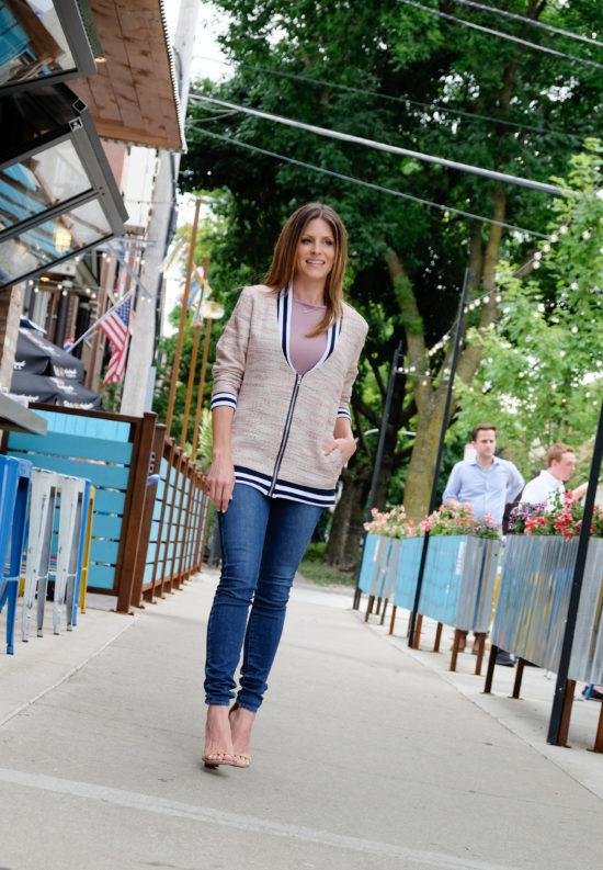 LUXYMOM Katie Farnan Jacket Mommy Fashion Blogger Street Style