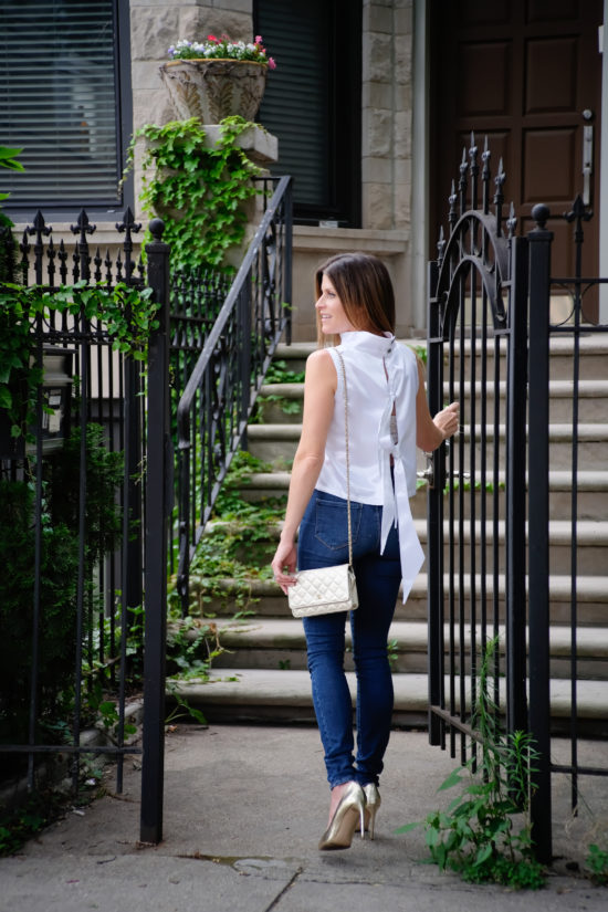 LUXYMOM Katie Farnan White Silk Top Date Night Outfit