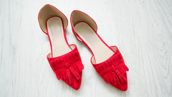 red dressy flat shoes