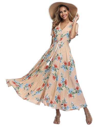 amazon floral vneck maxi dress