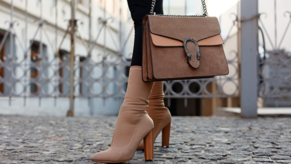neutral fall booties and handbag
