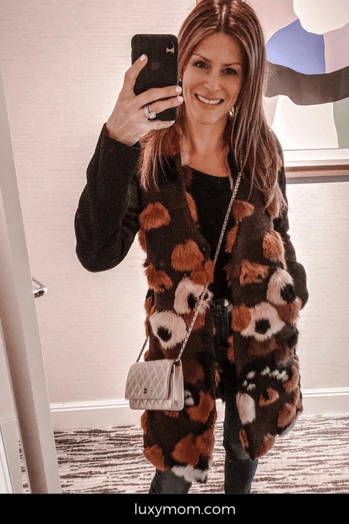 faux fur jacket katie farnan luxymom