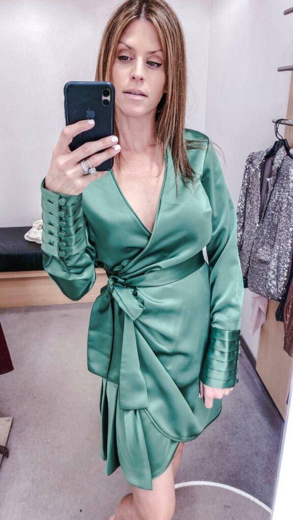 green silk wrap dress