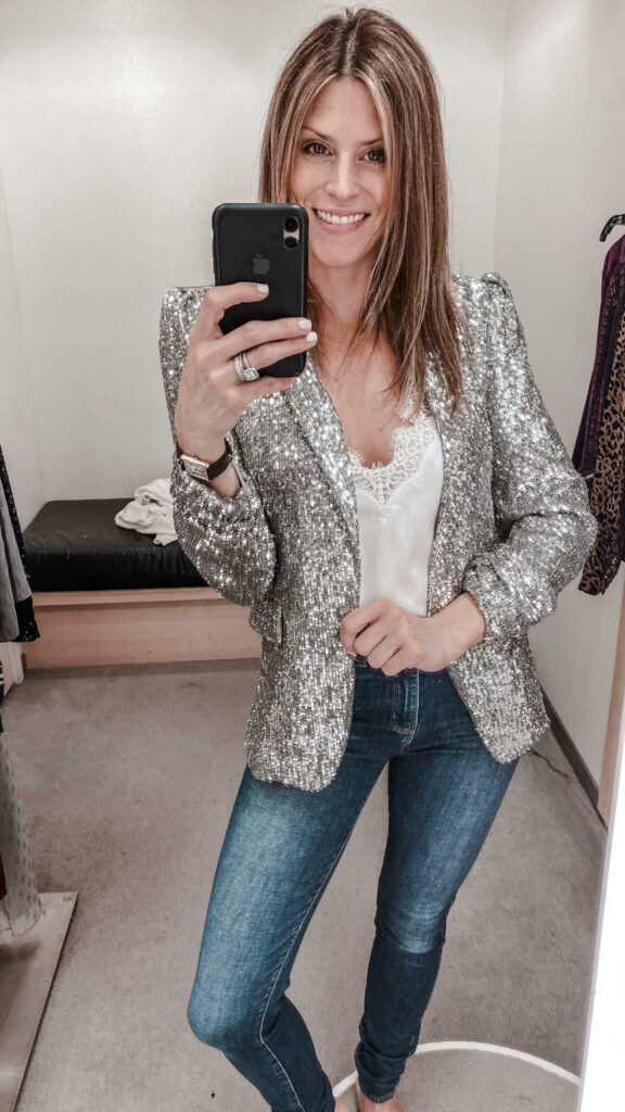 silver sequin blazer jacket