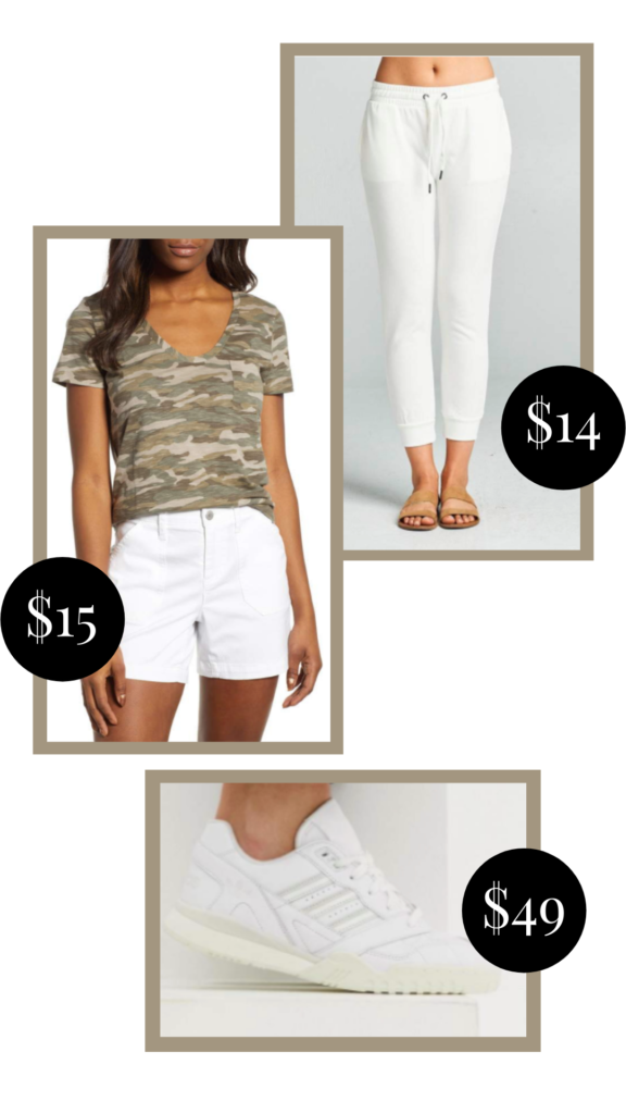 camo tshirt and white jeans outfit