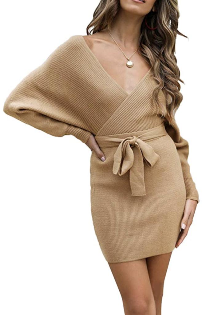 amazon wrap sweater dress