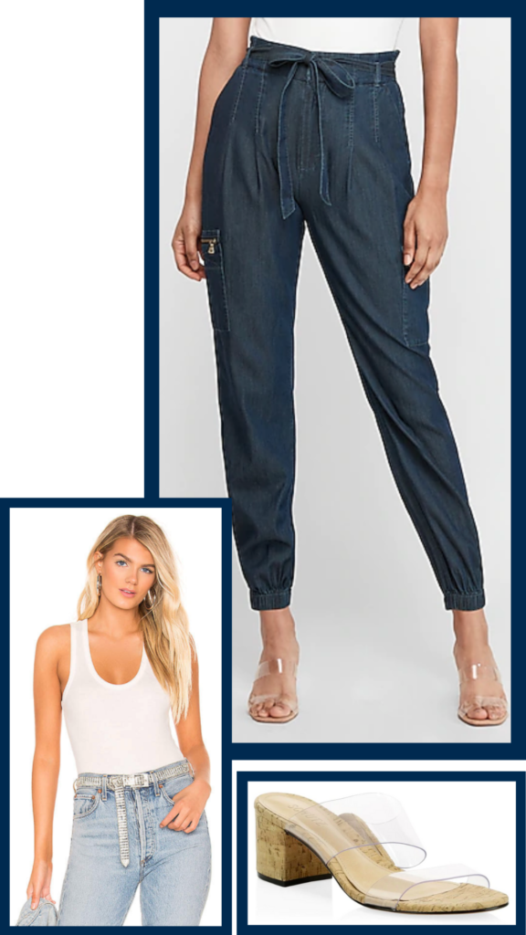 high waisted jogger jean outfit