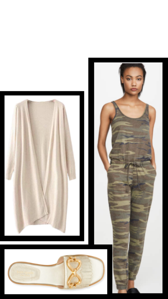 camo jumpsuit casual outfit