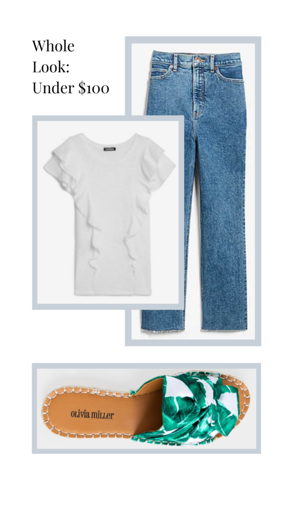 ruffled tshirt with jeans and slides outfit