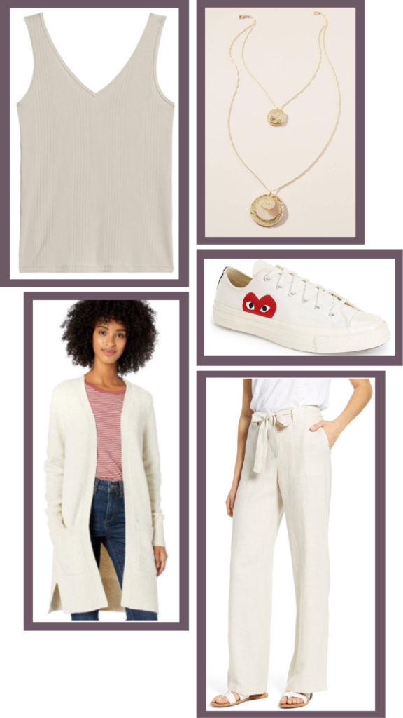 white trouser casual outfit