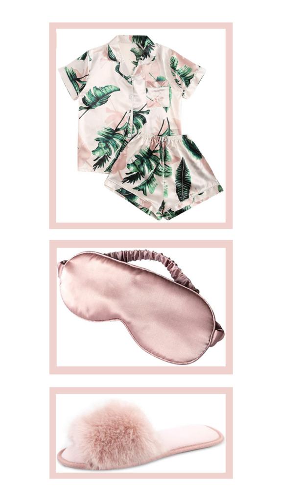 pink palm tree print pajama outfit