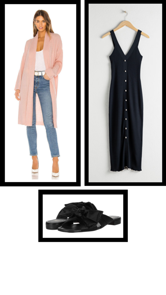 midi dress and duster casual outfit
