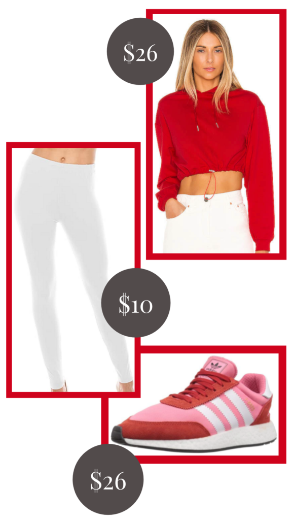 red and white athleisure outfit