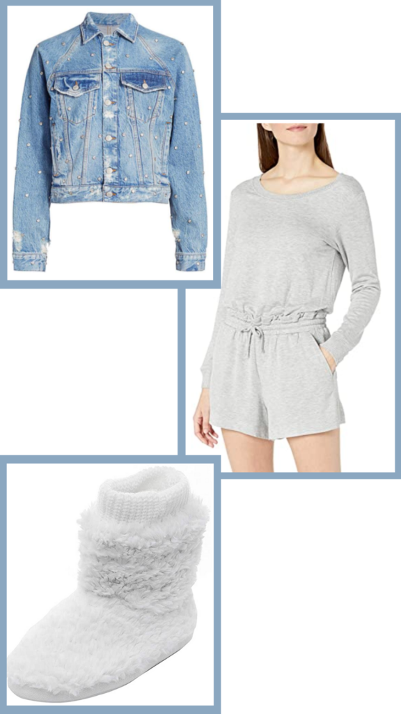 romper jean jacket and slippers outfit