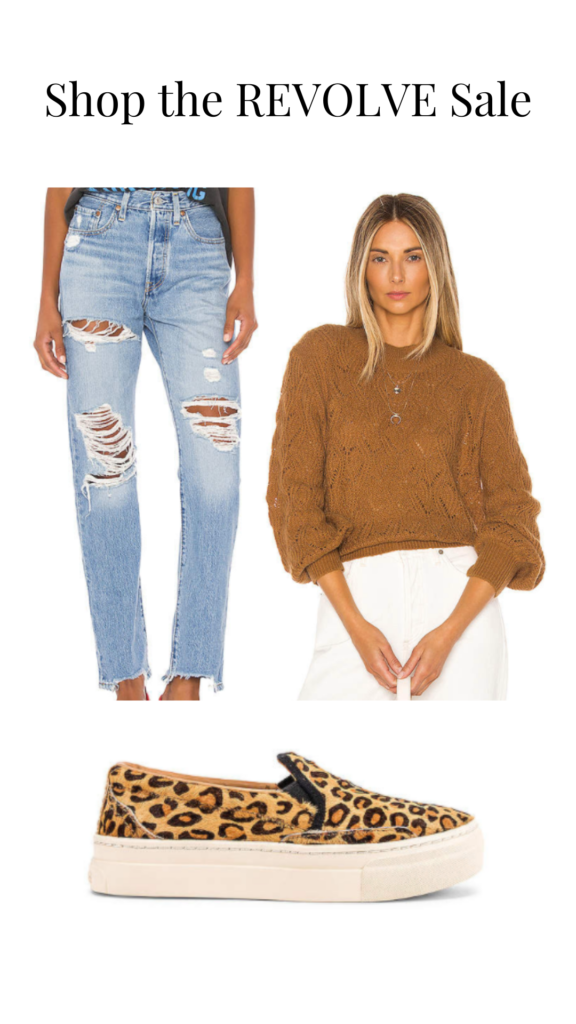 revolve sale at home work outfit sweater jeans leopard sneakers