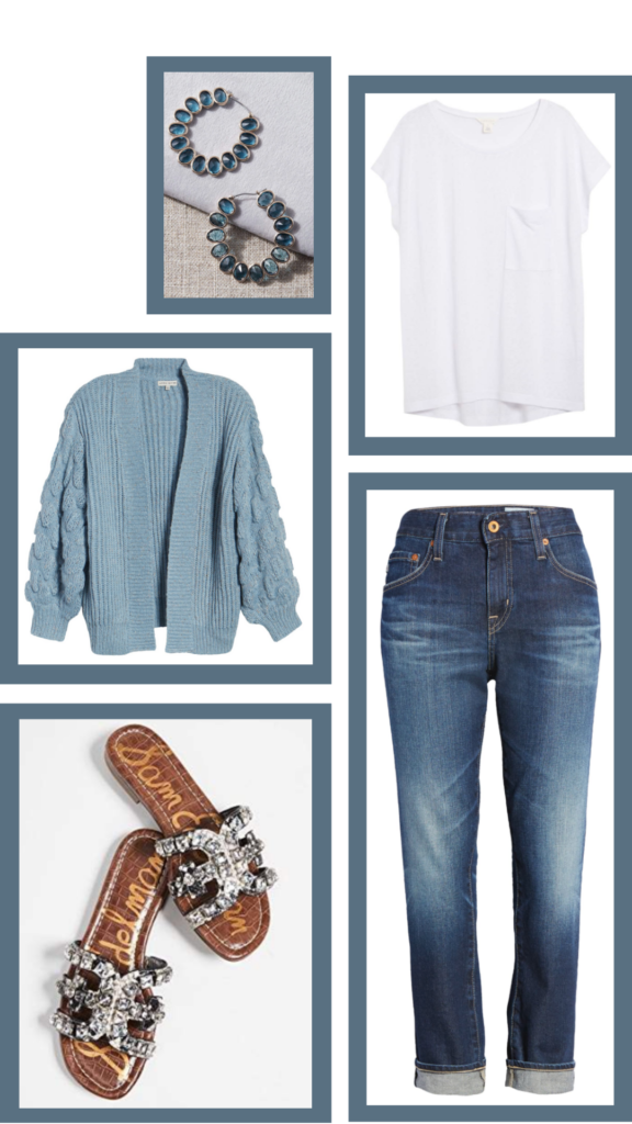 blue and white casual outfit