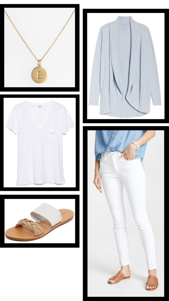 white and blue casual outfit