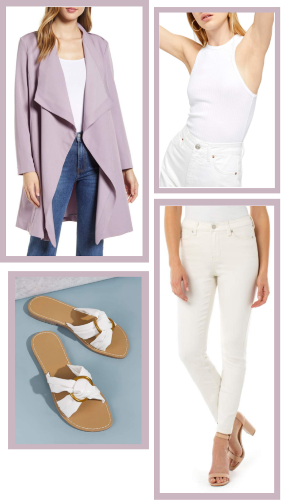 white casual outfit lavender cardigan