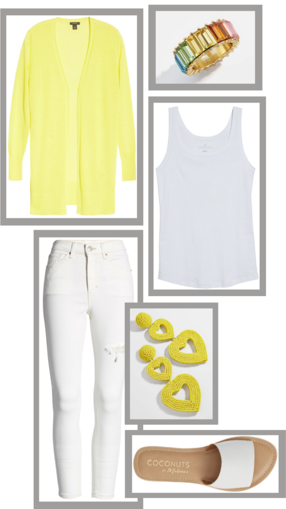 yellow and white casual outfit