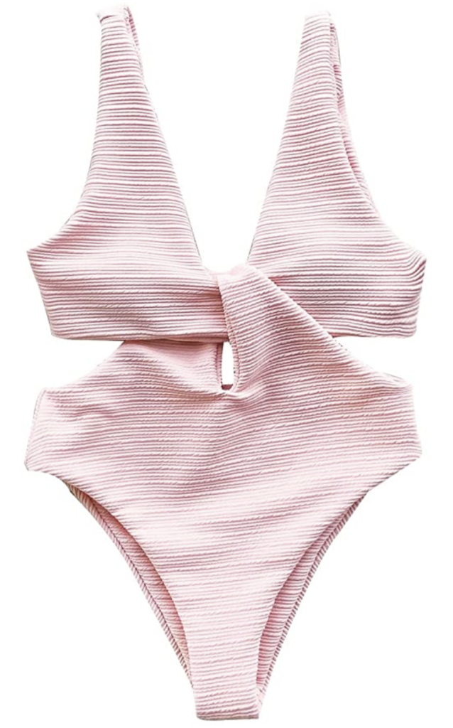 amazon cupshe pink cutout bathing suit