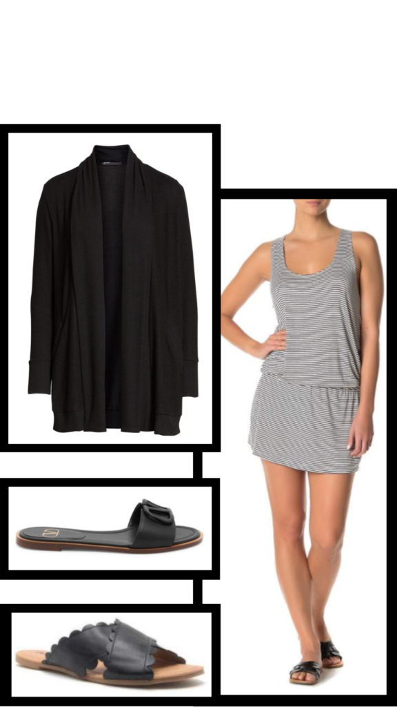 black racerback dress and accessories summer outfit