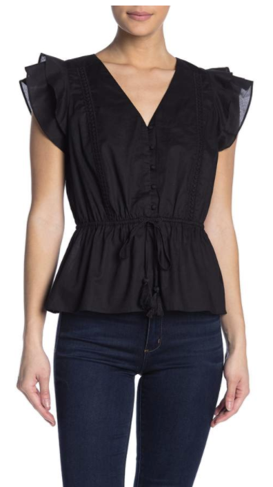 flutter sleeve peplum top