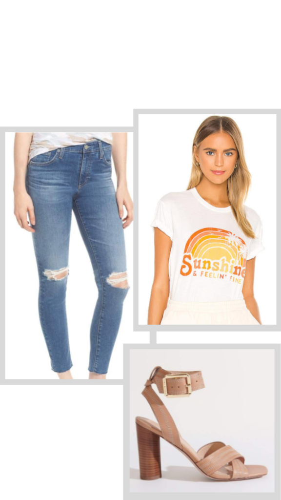 graphic tee jeans and heeled sandals outfit