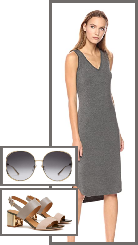 neutral summer midi dress