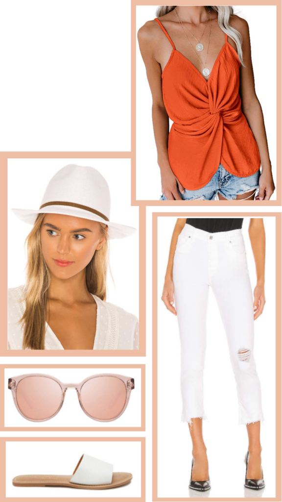 orange and white cute summer outfit
