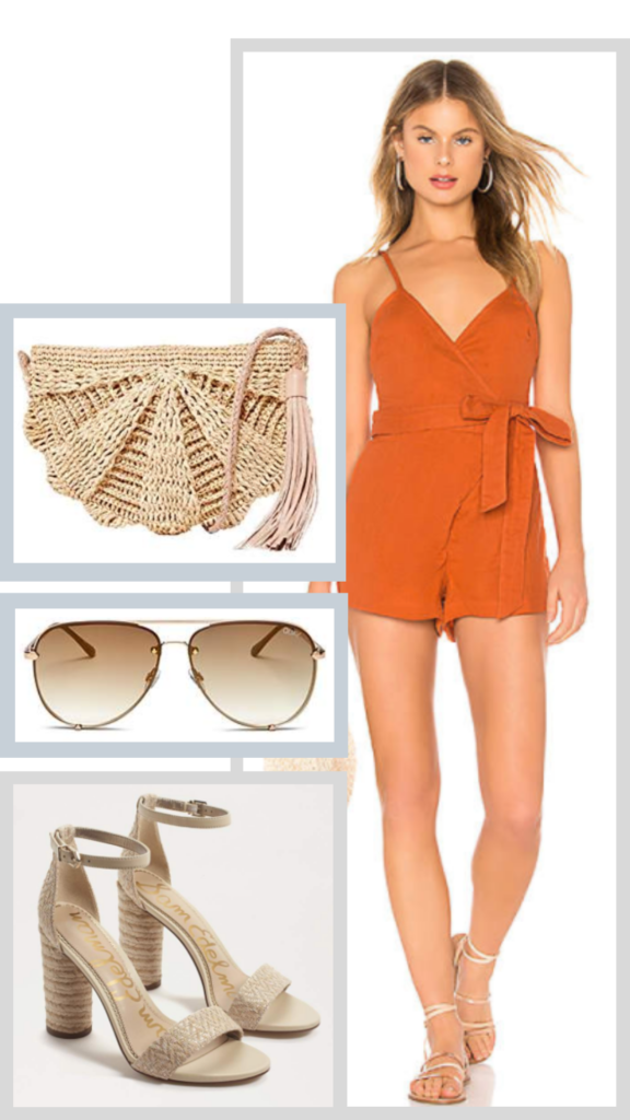 orange romper outfit with straw accessories