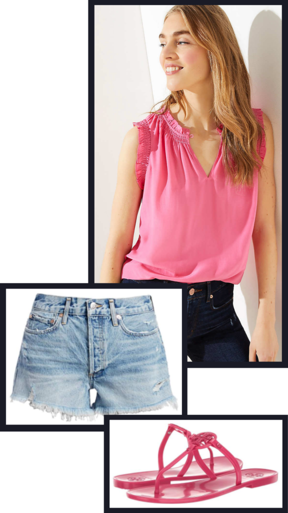 pink and blue summer outfit