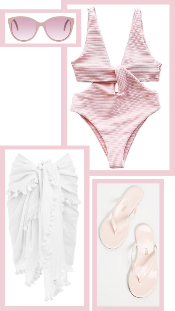 pink and white beach outfit