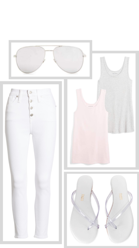 grey white pink outfit summer style