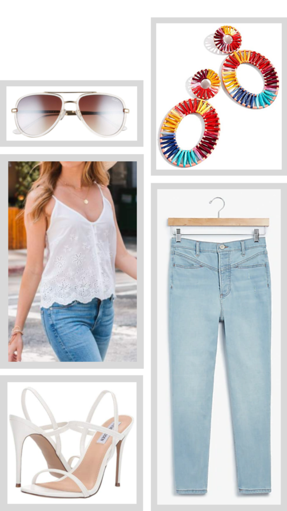 eyelet cami and jeans outfit