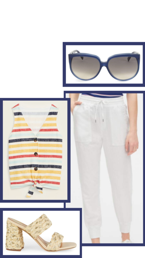summer outfit striped shirt and joggers
