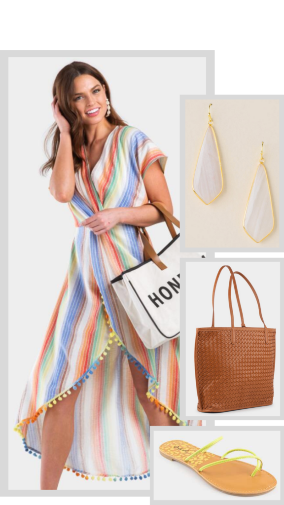 striped swim coverup outfit