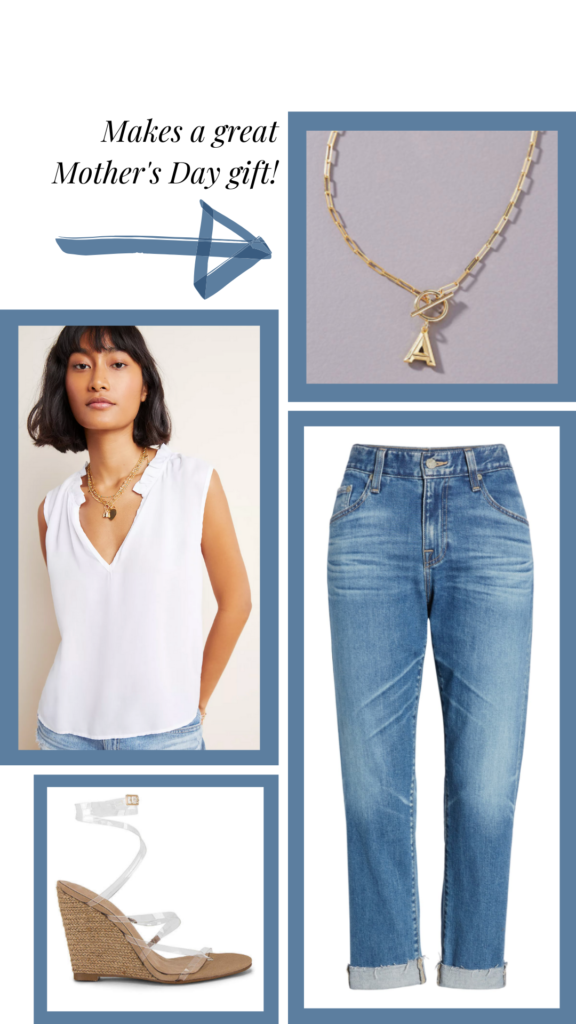 white tank and jeans summer outfit monogram pendant mothers day