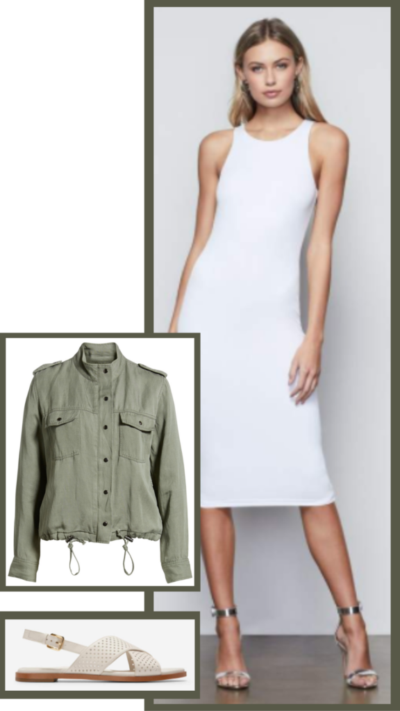white tank dress military jacket