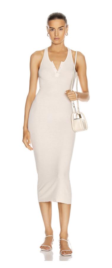 enza costa white ribbed midi dress