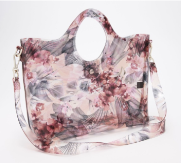 clear floral tote bag