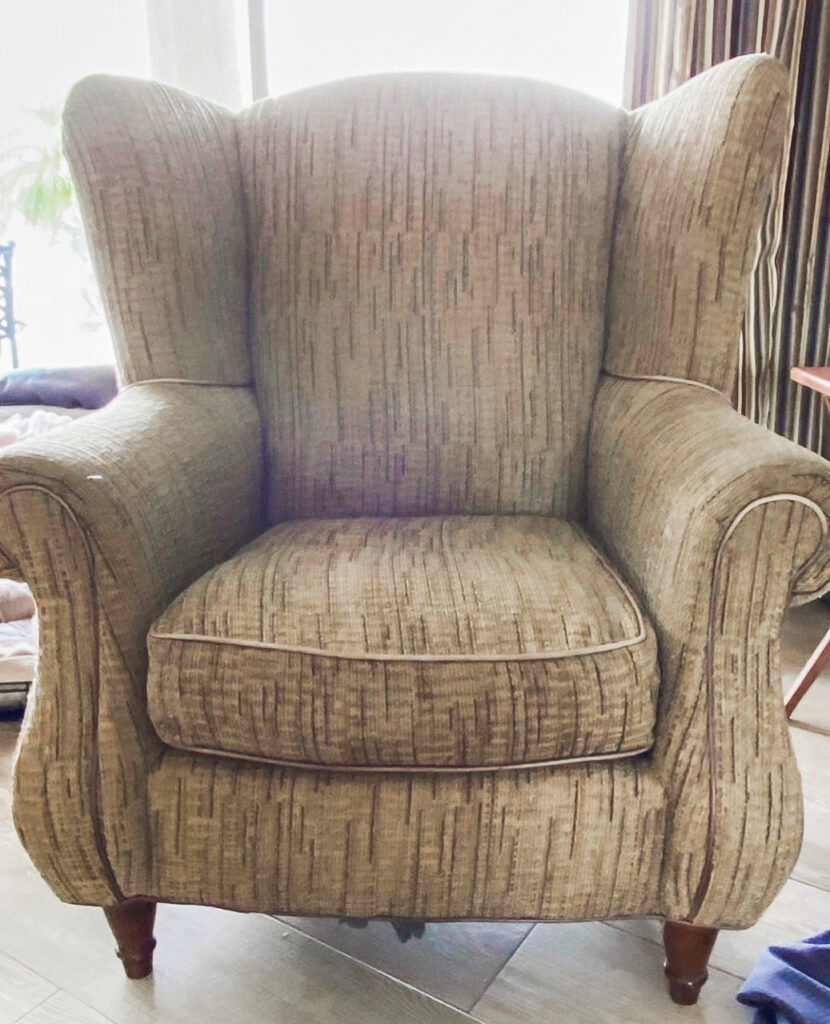 reupholstered chair - before photo