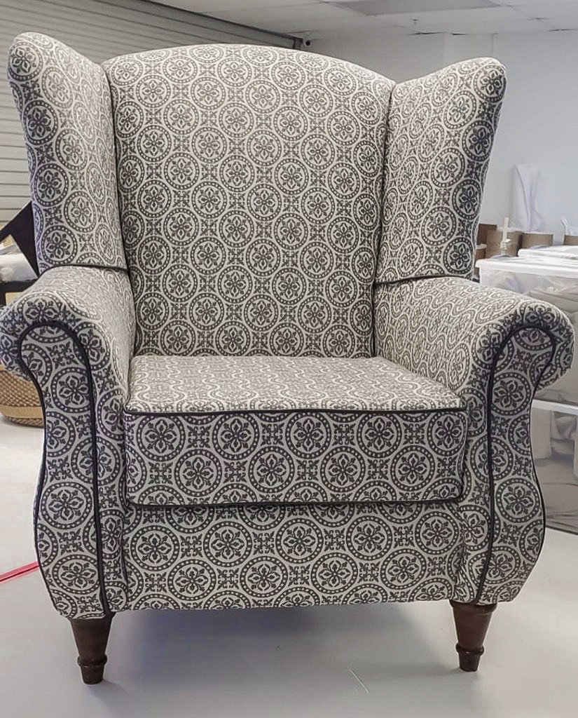 reupholstered chair - after photo