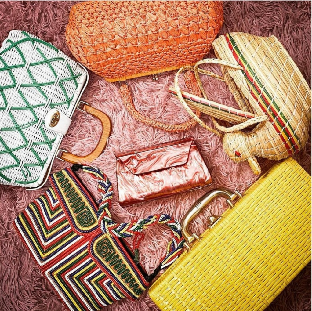 vintage woven straw and beaded handbags colorful