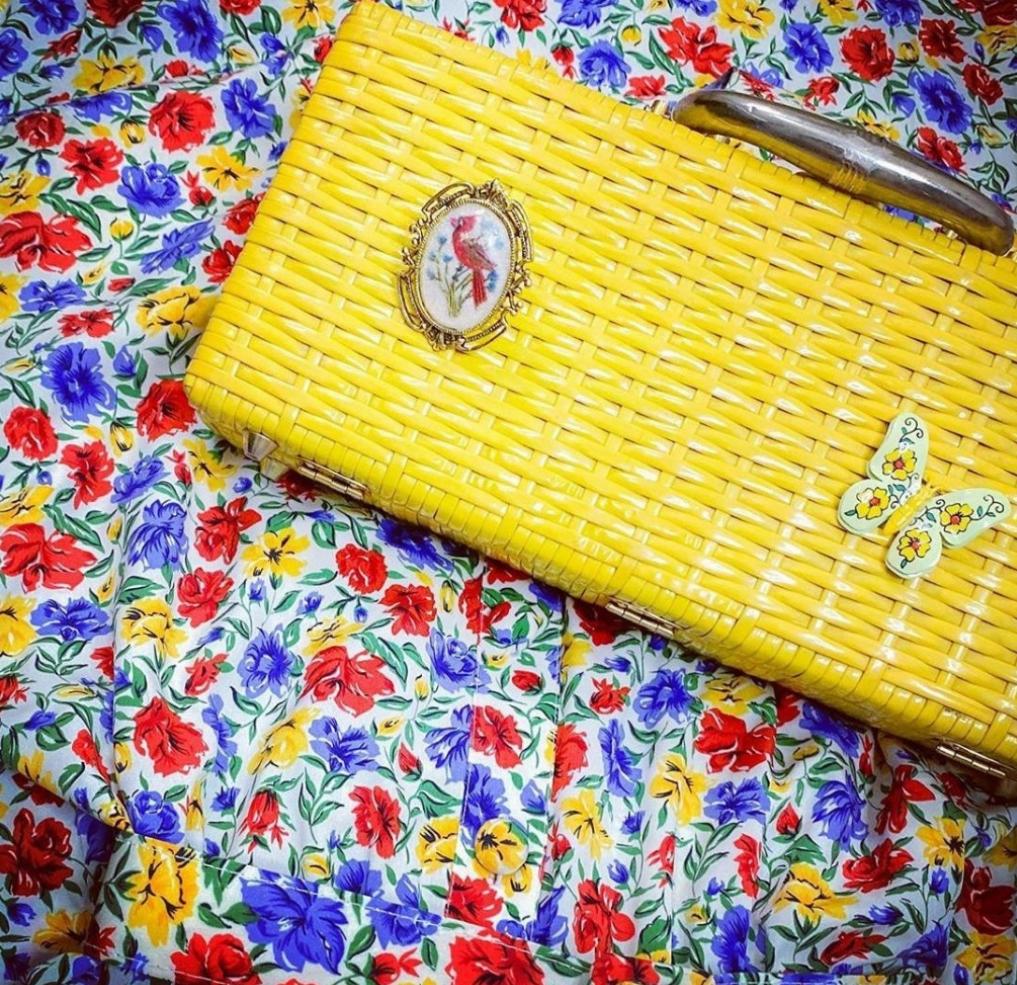 vintage yellow straw handbag clutch embellished